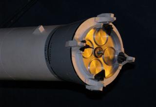 Вид соплового блока макета ракеты космического назначения