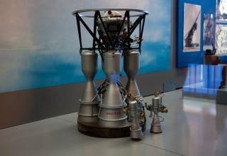 Макет двигателя РД-107 в музее истории Космодрома Байконур. Двигатель был создан для первой в мире МБР Р-7