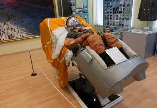 Катапультное кресло пилота космического корабля «Восток». Экспонат музея Космодрома Байконур.