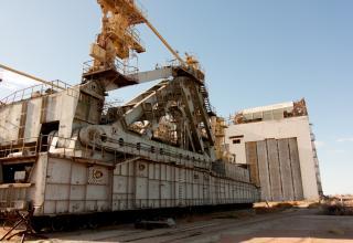Транспортно-установочный агрегат (ТУА), на которым РН «Энергия» с КК «Буран» должны были доставляться до места старта.