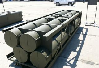 """Транспортно-пусковой контейнер для стрельбы реактивными снарядами серии Extra калибра 300 мм РСЗО """"Найза"""""""