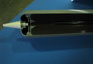 Вид носовой части макета неуправляемого реактивного снаряда М0.1.01.04 для стрельбы с помощью боевых машин тяжелых огнеметных си