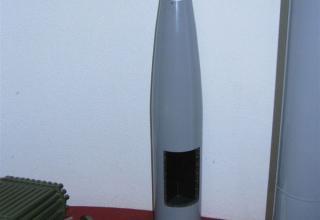 """Макет осколочно-фугасной головной части неуправляемого реактивного снаряда М-21ОФ реактивной системы залпового огня """"Град""""."""