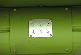 Схема порядка схода снарядов из транспортно-пускового контейнера МЗ-196 опытного образца боевой машины 9А52-4 на модифицированно