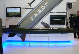 Вид макета ракеты увеличенной дальности EXTRA (на переднем плане) и макета ракеты LORA (на заднем плане) от специалистов израиль