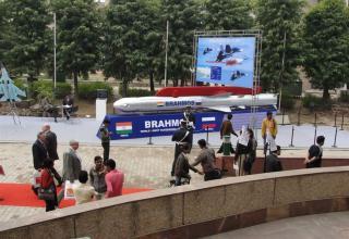 Вид макета управляемой ракеты BRAHMOS (Россия-Индия)