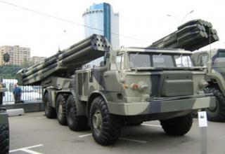 Действительный вид боевой машины 9П140 РСЗО