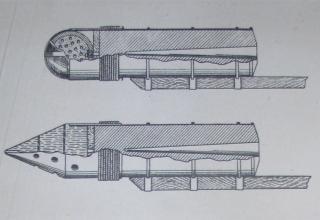 Рисунки ракет выдающегося ученого-артиллериста А.Д. Засядко. Максимальная дальность полета 2670 м.