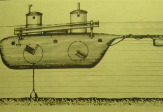 Рисунок подводной лодки-ракетоносца конструкции К.А. Шильдера. В 1834 году он испытал созданную им подлодку с 6 ракетами.