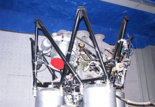 Вид элемента конструкции макета жидкостного ракетного двигателя РД-108