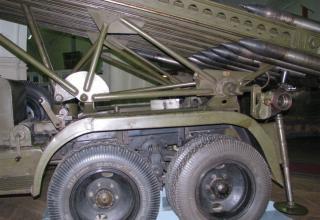 Вид элементов конструкции метательной установки и задних колес установки М-13