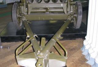Вид сзади опытного образца 150 мм германского пятнадцатиствольного миномета