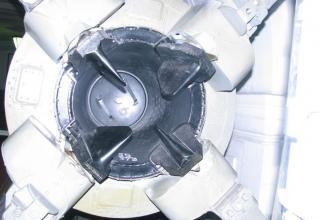 Вид сзади соплового блока и органов управления макета ракеты Р-11 ФМ