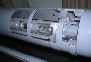 Вид разрезной части кассетной головной части разрезного макета корректируемого реактивного снаряда из состава РСЗО