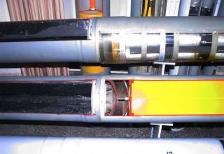 Поверхность (место) соединения головных и ракетных частей макетов НУРС 9М27К (сверху) и 9М27Ф (снизу) для РСЗО