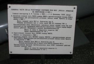 Данные головных частей 9Н254, 9Н128С, 9Н128К2 НУРС 9М59, 9М27С, 9М27К2 калибра 220 мм для РСЗО