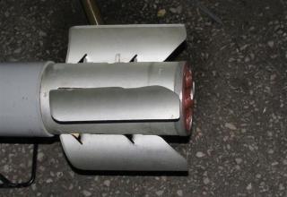 Вид блока стабилизатора макета неуправляемого реактивного снаряда 9М22М