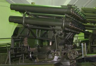 Вид сбоку артиллерийской части боевой машины БМ-14