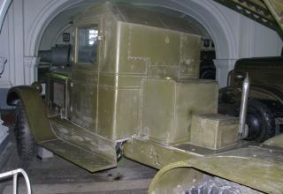 Вид сзади под углом кабины боевой машины БМ-8-48