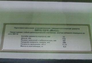 Данные противотанковой управляемой твердотопливной ракеты 9М115 ПТРК