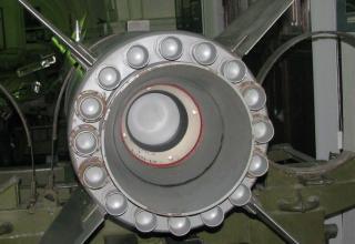 Вид заднего среза соплового блока макета ракеты 9М21 тактического ракетного комплекса 9К52