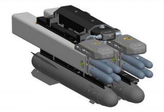 Изображение (в середине) пусковых установок и носовых частей УР DAGR в составе авиационного блока вооружения (США)