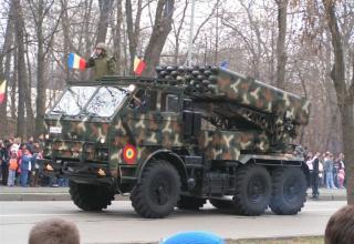 Боевая машина РСЗО LAROM с двумя ТПК для запуска реактивных снарядов калибра 160 мм (Румыния-Израиль)