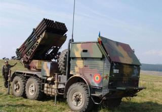Боевая машина РСЗО LAROM с двумя ТПК для запуска реактивных снарядов калибра 122 мм (Румыния-Израиль)