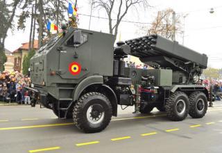 Боевая машина РСЗО LAROM с двумя ТПК для запуска РС калибра 160 мм на доработанном шасси Roman DAC-25.360 (Румыния-Израиль)