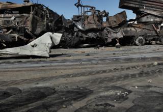 Уничтоженная боевая машина типа БМ-21. Ливия. 22.03.2011 г.