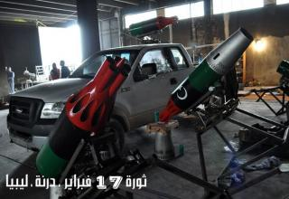 Революционерам в Darnah удалось демонтировать блоки орудий и установить на грузовики 4на4. Ливия. Опубликовано 29.03.2011 г.