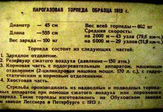 Данные парогазовой торпеды образца 1912 года. Фото ©С.В. Гуров (г.Тула)
