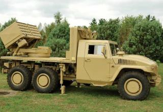 Разработанный для ОАЭ 107-мм вариант LRSVM, смонтированный на шасси автомобиля Nimr 6х6. http://bmpd.livejournal.com/25547.html.