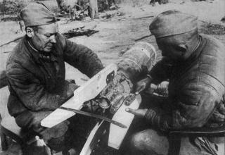 Изготовление летающих торпед из реактивного снаряда М-13 для уличных боев, 29 апреля 1945; http://news.bcm.ru/gallery/15