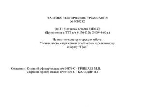 """Тактико-технические требования №0010282 (дополнение к ТТТ в/ч 64176-С №0010044-60г.) на ОКР """"Боевая часть, снаряженная огнесмесью, к реактивному снаряду """"Град"""" (электронный вариант)"""