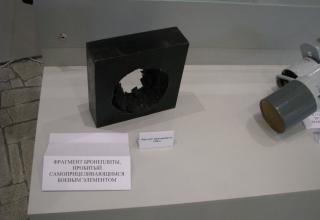 Фрагмент бронеплиты, пробитый самоформирующимся ударным ядром СПБЭ к ГЧ НУРС к РСЗО. ©С.В. Гуров (г.Тула)