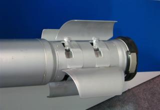 Вид хвостовой части макета неуправляемого реактивного снаряда 9М522. С.В. Гуров (г.Тула)