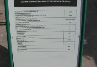 Штендер с неправильным указанием индекса боевой машины РСЗО