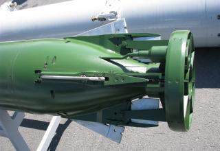 Хвостовая часть макета антиторпеды из состава малогабаритного противолодочного комплекса