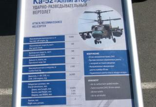 Данные ударно-разведывательного вертолета Ка-52