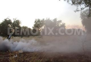 Самодельная пусковая установка во время пуска по силам Ассада в Binnish, около Идлиба. demotix.com/node/2216142. Опубл. 01.07.13