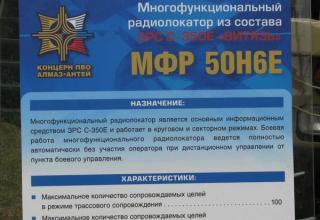 Штендер по многофункциональному радиолокатору МФР 50Н6Е из состава ЗРС-350Е
