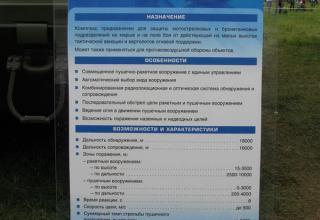 Штендер с данными по ЗСУ 2С6М1 из состава ЗПРК