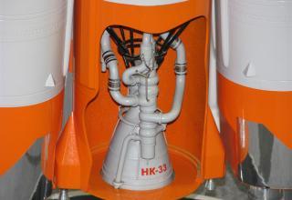 Макет ракетного двигателя Н-33 в конструкции макета ракеты-носителя. Макет РН с РД Н-33. ©С.В.Гуров (Россия, г.Тула)