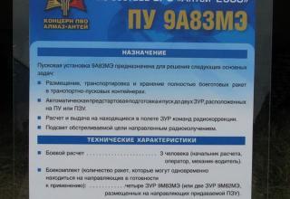 Штендер по пусковой установке ПУ 9А83МЭ из состава ЗРС