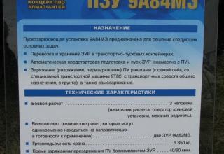 Штендер по пускозаряжающей установке ПЗУ 9А84МЭ из состава ЗРС