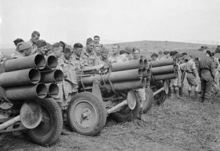 © IWM (NA 2588). Британская армия в Тунисе. Войска с захваченными немецкими установками Nebelwerfer, 7 мая 1943 г. iwm.org.uk