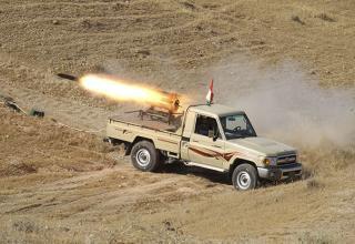 БМ РСЗО СБ Курдистана при стрельбе по боевикам Гос-ва Ирака и Леванта. Джалавла, пров-я Дияла 14.06.14 г.Reuters / Yahya Ahmad