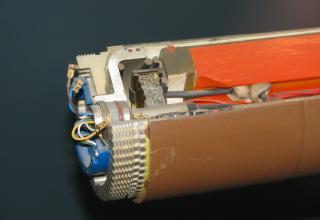 Головная часть макета РДТТ LAR-Motor DM 14 с зарядом двухосновного ТТ, 1984 год. ©Власов С.Б. (Россия, г. Москва)
