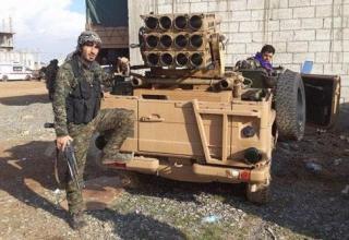 Peshmerga  в Kobane. БМ для пуска ТРС калибра 107 мм. twitter.com/artwendeley/status/528583169713659904 Опубл. 01.11.14 г.